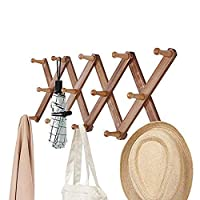 OROPY Vintage Wooden Wall Mounted Coat Rack, Accordion Expandable Clothes Hat Hanger with Peg Hooks