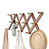 OROPY Vintage Wooden Wall Mounted Coat Rack, Accordion Expandable Clothes Hat Hanger, 14