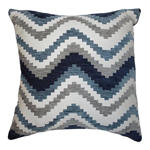 McAlister Textiles Navajo | Kissenbezug für Sofakissen in Denim Blau | 60 x 60cm | Gewobenes geometrisches Chenille Muster | Ethno-Design Deko Kissenhülle für Sofa, Couch - Couch Muster Blau
