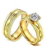 Coniea Ring Damen Edelstahl Ringe Gold Groß CZ Inlay Breite 7 MM Damen Ring Verlobungsring Größe 60 (19.1)