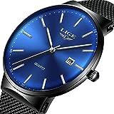 LIGE Relojes de Acero Inoxidable para Hombre Relojes de Acero Inoxidable Impermeable Hombre Moda Analógico Cuarzo Azul Dial con Fecha Reloj de Pulsera para Hombre Relojes para Hombre Azul