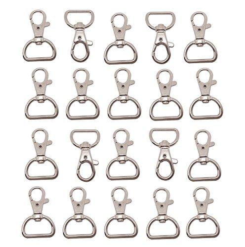 Preisvergleich Produktbild Durshani 20er Kleine Abnehmbare Drehverschlüsse für Schlüsselringe Split Ring 25mm Edelstahl Karabinerhaken by