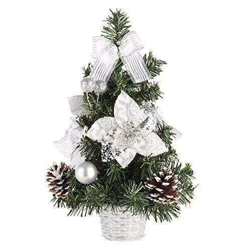 Artbro Mini Weihnachten Schreibtisch Baum Künstliche Weihnachtsbaum mit Ornamenten für Indoor Outdoor Home Office Dekor Silber