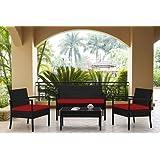 Muebles–Muebles de jardín de mimbre 4piezas juego de sofá de rojo cusions