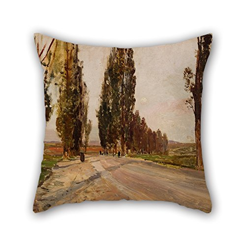 slimmingpiggy-oil-painting-emil-jakob-schindler-boulevard-of-poplars-near-plankenberg-pillowcover-16