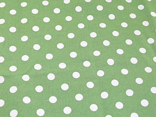 Spotty Polka Dot Print Baumwolle Canvas Stoff, Meterware, Grün -