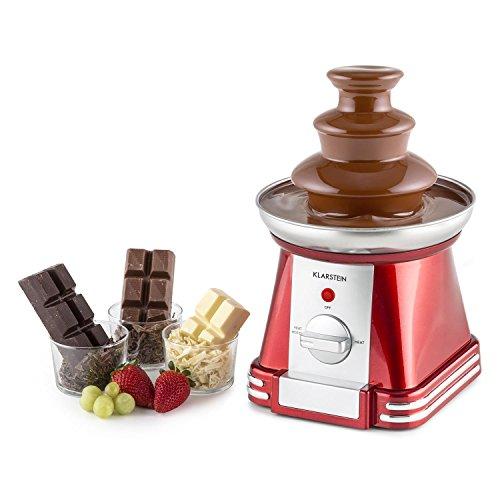 Klarstein Chocoloco • Schokoladen-Brunnen • Schokofondue • 32 Watt Leistung • tiefe Auffangschale • für 350 g Kuvertüre • Edelstahl-Turm • Edelstahl-Auffangschale • stabiles Gehäuse • rot