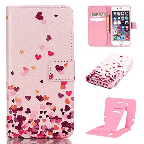 Ekakashop Coque pour Apple iPhone 5, iphone 5s Portefeuille Longe Housse en PU Cuir, iPhone 5 Coque de Protection Folio Case Couverture, iphone 5s Mode Relief imprimé Motif de Fleurs Pink Roses Protec Amour rose