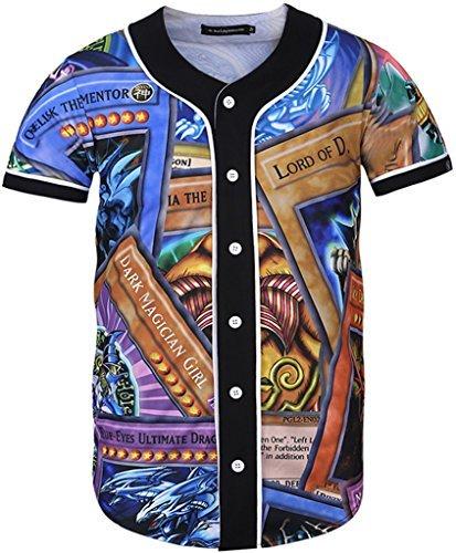 Pizoff Männer-T-Shirt mit Knopfrundhalsausschnitt kurze Ärmel Stil Hip-Hop Baseball Praxis Shirt Kühle lässig Tops Y1724-21-XL (Praxis Hoody Sweatshirt)
