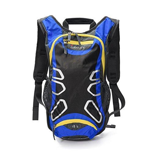 Juboury 15L Hadration Pack--Trinkrucksack mit 2L Trinkblase und Schutzabdeckung für alle Wetter zum Laufen, Wandern, Radfahren und für alle anderen Outdoor-Sportarten bei der Sie Flüssigkeit benötigen (Blau-schwarz)