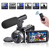 Videocamara 2.7K 30FPS 30MP Cámara de Video con Pantalla Táctil Giratoria de 3.0'y Videocámara de Lapso de Tiempo Cámara de Visión Nocturna por Infrarrojos