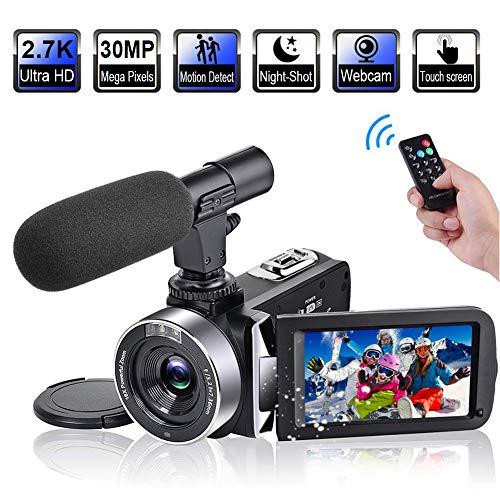 Videokamera 2.7K Camcorder HD 30FPS 30MP Digitalkamera mit drehbarem 3,0 Zoll Touchscreen und Zeitraffer Videokamera mit Mikrofon IR Nachtsicht Webcam 3 Camcorder