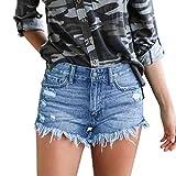 UFACE Damen Jeansshorts Kontrastfarbe Jeans Bermuda-Shorts Kurze Hosen Aus Denim Sommer High Waist Denim Kurze Hose Mit Quaste Ripped Loch Hotpants Shorts