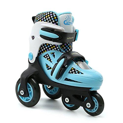 GESIMEI Kinder Rollschuhe 4 Größen Verstellbar Waschbar Aussen Jungen Mädchen Roller Skates Laufschuhe (Schwarz Blau, 31-34)