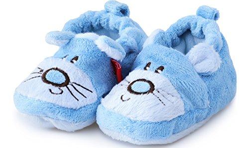 Baby Mädchen und Jungen Babyschuhe Hausschuhe ZB-67 (Blau, 12,5 cm)