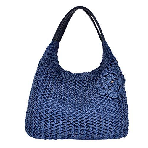 YEARNLY Stroh Strandtasche, Sommer Umhängetasche Korbtasche mit Schnalle, Große Kapazität für Einkauf Den Täglichen Gebrauch Büro Urlaub -