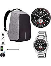 TIMER Combo Of Stylsih Silver Color Dial Watch With Anti-Theft Water Proof Cut Proof Smart Laptop Backpack Travel...