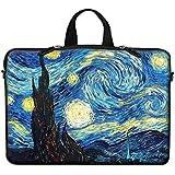 Meffort Inc Neoprene Laptop Carrying Case Sleeve Bag W. Hidden Handle & Eyelet (D-ring) for 17 17.3 Inch Notebook - The Starring Night