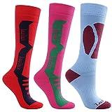 Calcetines largos de esquí para mujer, estilo cachemir, de Laulax, talla 36a40, caja de regalo, color rosa, rojo y azul, 3 pares