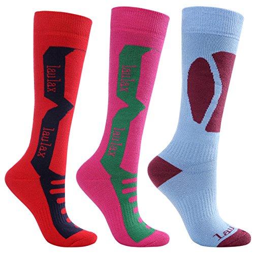 Laulax 3Paar Damen-Socken, lang, Kaschmir-Gefühl, Ski-Socken, Größe 36–40, in Geschenk-Box, Rot, Pink, Blau (Damen-kaschmir-socken)