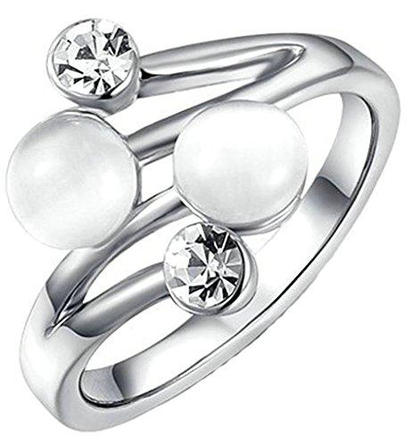 Anelli Donna Matrimonio Placcato Oro Bianco Cerchio Tondo Doppio Opal Formato 17 Per Aienid