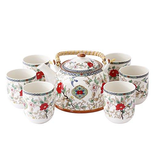 Vogel Vintage Tee (ufengke® Jingdezhen Bone China Ringgriff Hundgemalt Blumen und Vogel Tee-Set)