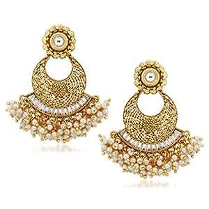 V. K. Jewels Golden Brass Alloy Cz American Diamond Kundan Pearl Earrings for Women