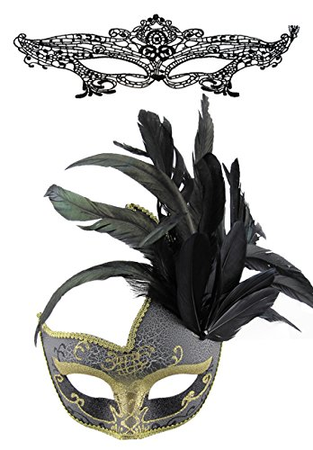Spitze sexy Spitze Augen maske und venezianische Feder Maske Halloween Masquerade Party Maske Set (Sexy Masquerade Kleid)