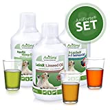 AniForte Barf-Öl Set 3 mit je 500ml Lachsöl, Leinöl und Hanföl - Naturprodukt für Hunde und Katzen, Kaltgepresst, Ohne Zusätze, Barfen und Idealer Zusatz für Futter