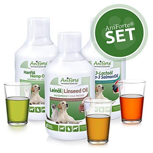 AniForte Barf-Öl Set 3 mit je 500ml Lachsöl, Leinöl und Hanföl - Naturprodukt für Hunde und Katzen, Kaltgepresst, Ohne Zusätze, Barfen und Idealer Zusatz für Futter -
