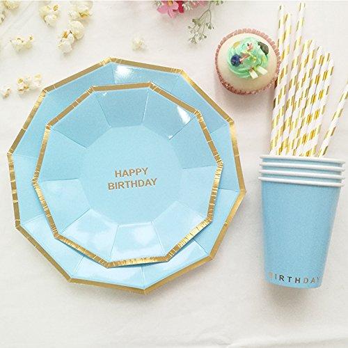 (sundlight Geschirrset von Papier Stück Aufblasbare Platten Stroh für die Dekoration von Party Partei Lieferungen acht Farbe hellblau)