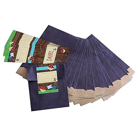 25 kleine blaue Papiertüten Geschenk-Tüten Geschenk-Verpackung (9,5 x 14 cm) mit beschreibbare Aufkleber
