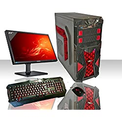 PC DESKTOP GAMING RED INTEL QUAD CORE WIFI /HD 1TB SATA III/RAM 8GB 1600MHZ/HDMI-DVI-VGA/USB 2.0 3.0 SD CARD/MONITOR 22 LED HD SAMSUNG VGA ATTACCO VESA/TASTIERA E MOUSE GAMING PC FISSO COMPLETO PRONTO ALL'USO GIOCHI,UFFICIO,GAMING ITEK INVADER