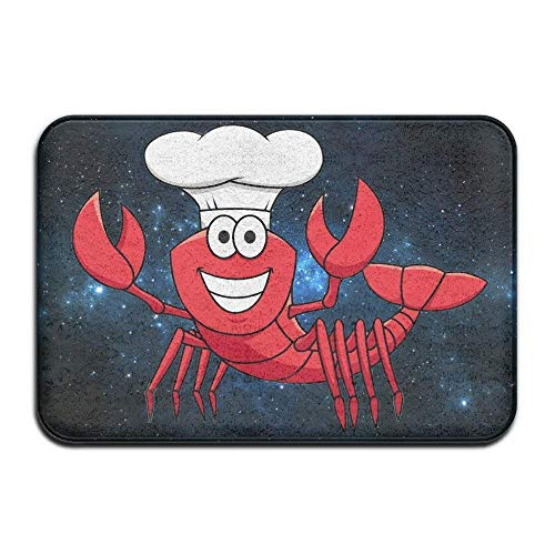 rwwrewre Cheerful Smiling Red Lobster Chef Cartoon Entrance rug Floor Mats Floor Mat 15.7' 23.6' Unique Doormat