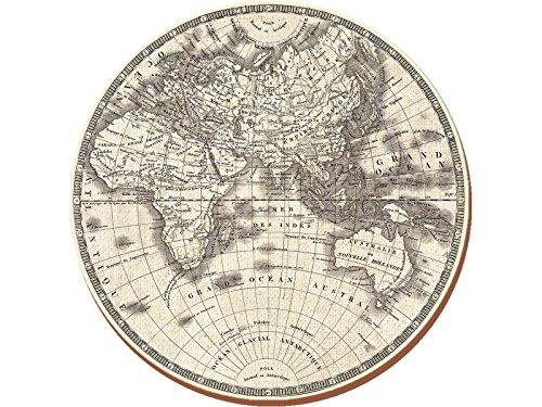 World Map Table Mat (Creative Tops Globe Premium rund Unterseite aus Kork Platzsets, Holz, gelb, 4-teilig)