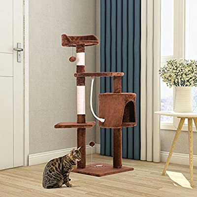 PURLOVE® 3 Platform Cat Tree Scratching Post Activity Centre - Grey