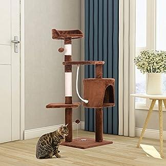 PURLOVE® 3 Platform Cat Tree Scratching Post Activity Centre - Grey (L 41 x W 41 x H 118cm, Beige) 12