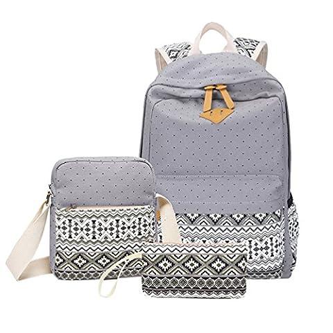 Schulrucksack Schulrucksäcke Canvas Rucksack Punkte Für Schule Rucksäcke Damen Schultertasche Meldungstasche Federmäppchen Brieftasche Coole Rucksäcke Schultaschen Für Jugendliche Mädchen Grau