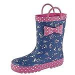 Childs Kids Toddler Navy/Pink Multi Wellington Average Leg Height 18 cm