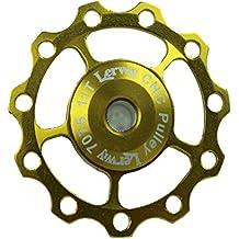 Lerway aluminio Jockey Rueda Desviador Trasero Polea Guía rodillo correa de distribución 11T A-05Pack de 2–Golden