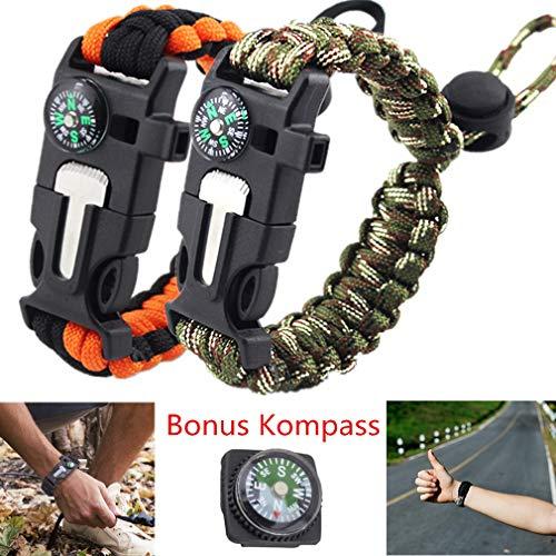 COUTUDI 2 Stück Einstellbar Paracord Survival Armband, Survival-Kits/Überlebens Bracelet/Outdoor Gear für Camping Wandern Klettern, Paracord + Kompass + Pfeife + Feuerstein + Messer