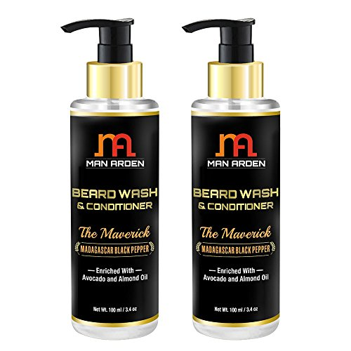 Man Arden Beard Wash (Shampoo) & Conditioner - The Maverick - With Avocado and Almond Oil 100ml (Pack Of 2)