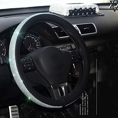 SDJIEN Mode Voll Bohrer Lenkradabdeckung 38 cm / 15 Universal Zoll Kristall Diamant Leder Griff Lenkerabdeckung Auto Sonnenschutz Tissue Box,1