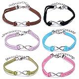 Yumilok Infinity Symbol Unendlichkeit Zeichen Charm-Armband Freundschaft Armbänder Handgemacht Geflochten Leder Legierung Armkettchen für Damen Mädchen, 6 Stücke