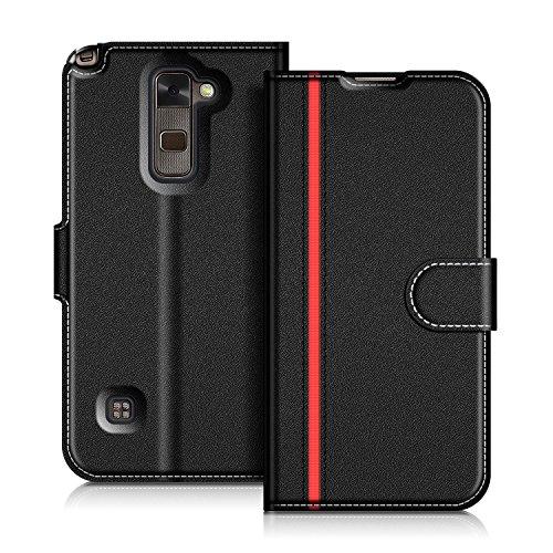 COODIO LG Stylus 2 Hülle Leder Lederhülle Ledertasche Wallet Handyhülle Tasche Schutzhülle mit Magnetverschluss/Kartenfächer für LG Stylus 2, Schwarz/Rot