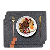 GoMaihe Filz Tischset 6er Set, 44×32cm Vintage Platzset Abwischbar Abwaschbar Tischläufer, Wasserdicht rutschfest Platzdeckchen Tischunterlage Tischuntersetzer für Esstisch Küchentisch, Grau