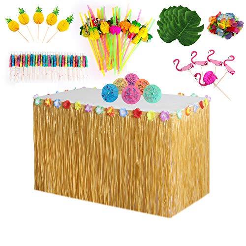 Hawaiian Party Dekoration Kit (66 Stücke) Hawaii Luau Tischröcke Hibiscus Grass Tischrock Tropischen Banner Künstliche Palmenblätter, Foto Requisiten Zubehör für DIY Garten Beach Party Dekor