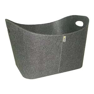 Grand panier en feutre gris, Panier à bûches en feutre élégant et chaleureux. Qualitée autrichienne, pour cheminée, panier à bois, coffre à jouets en feutre gris, avec poignée, gris, 54,8x 42 x 35 cm