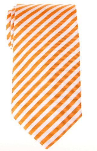 Cravate À rayures Tissée en Microfibres de Retreez Orange et Blanc