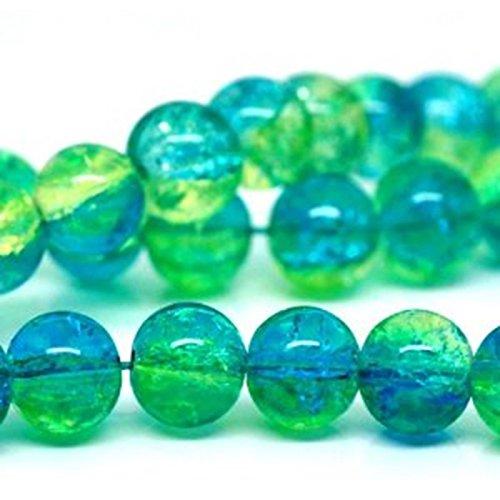 100 X AQUA & GREEN GLASS CRACKLE BEADS 8 MM